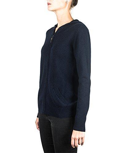 100% Kaschmir Damen Kapuzenpullover | Hoodie mit Reißverschluss (Blau / Marine, S) - 3