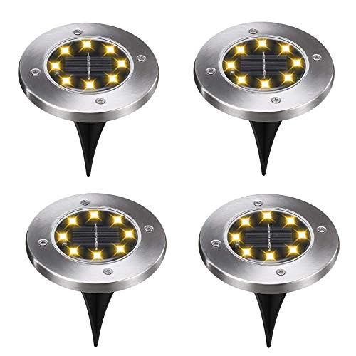 Solar-Bodenlichter, 4 Stück, 8 LEDs, solarbetrieben, für den Außenbereich, wasserdichte LED-Solar-Lichter, Garten-Lichter, Erdspieß, Beleuchtung für Hof, Auffahrt, Rasen, Weg warmweiß