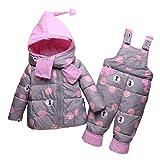 LSERVER Daunenjacke für Kinder 1-3 Jahre Warm Baby Winterkleidung, Grau, 82/86(Fabrikgröße: 90)