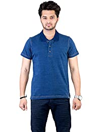 Deep Blue Denim - T Shirt High Quality Premium Solid Collar Men / Boy Cotton Casual Polo T-Shirts Short Sleeve...