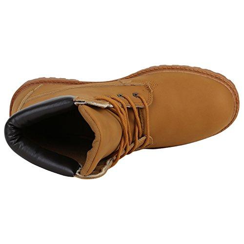 Gefütterte Herrenschuhe Outdoorschuhe Profilsohle Herren Worker Boots Outdoor Stiefeletten Flandell Hellbraun Cabanas