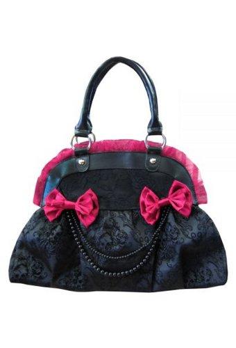 Banned - Damen Rockabilly Tasche Handtasche Skull Diamonds (Schwarz/Bordeaux Rot)