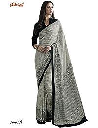Bridal Studio Designer Crepe Printed Saree With Unstitched Blouse - Black & White