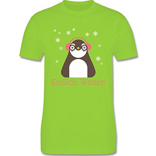 Wintersport - Endlich Winter Pinguin kalt - Herren Premium T-Shirt Hellgrün