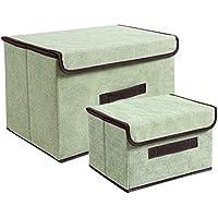 Preisvergleich für Nlj-YMS Faltbare Aufbewahrungsbox Kleider Aufbewahrungsbox Grün 2 Stück