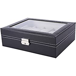 JCELE Watch Box For Men And Women PU And Wood Storage Box Black