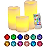 Flameless Candles With Remote, [Real Flickering & Real Ivory Color] Novelty Place Battery Powered LED Pillars Candle With Remote Control And Timer Function - 12 Preset Multi Colors