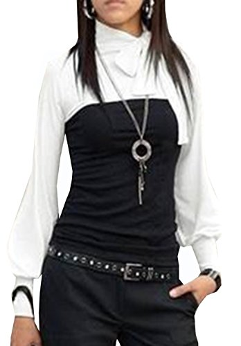 Mississhop Kd. 120 Japan Style Boho Style Bluse 2 in 1 Optik Tunika Longshirt Schwarz-Weiß XL -