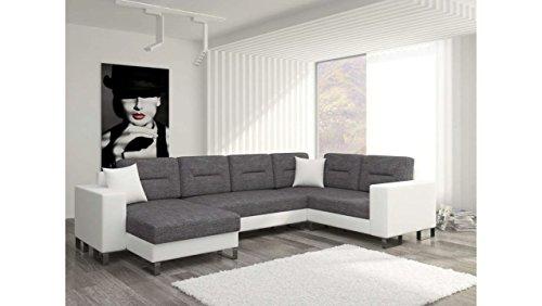 Justhome dorado u - divano a u divano imbottito divano angolare tessuto a strutturale finta pelle (axlxp): 86x303x206 cm bianco grigio penisola a destra