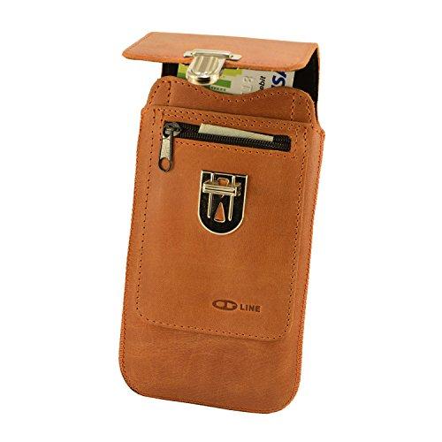 Orline Handy Tasche Echtleder Apple Iphone 6 PLUS 5,5 Zoll Schutzhülle Gürteltasche Leder Hülle Etui Schalen Case Cover Leder Hülle Handarbeit Rost Hell Braun