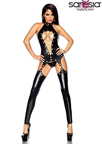 SARESIA - Wetlook-Straps-Set von Saresia - schwarz - M - Glamour Sexy Beine