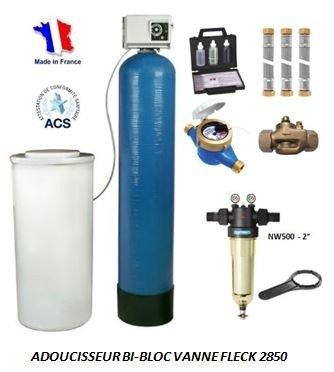 Adoucisseur d'eau bi bloc 475L fleck 2850 complet