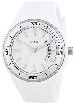 Guess FIN W95143G3 - Reloj analógico de cuarzo para hombre, correa de goma color blanco (agujas luminiscentes, cifras luminiscentes) de Guess