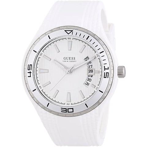 Guess FIN W95143G3 - Reloj analógico de cuarzo para hombre, correa de goma color blanco (agujas luminiscentes, cifras luminiscentes)