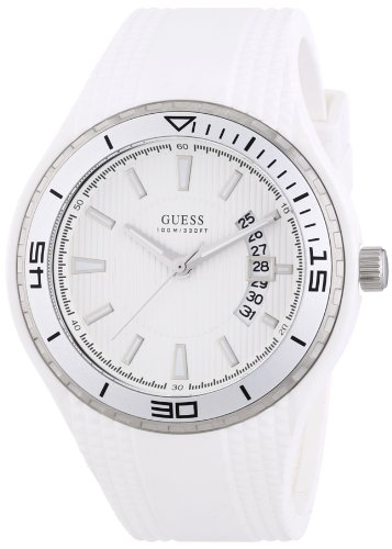 Guess Fin Unisex Quartz Watch with White Dial Analogue Display and White Rubber Strap W95143G3