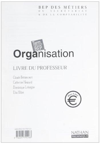 organisation bep livre du prof ed 02 par Collectif