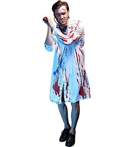 Blutiger Kostüm Arzt - HAOBAO Halloween Männer Grausigkeit Vampire Zombie Ärzte blutiges Weiß Kostüm mit Stethoskop, one Size