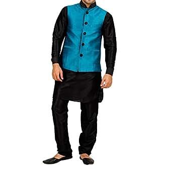 Art Designer Wear Turquoise Velvet Pathani Suit For Men-XX-Large