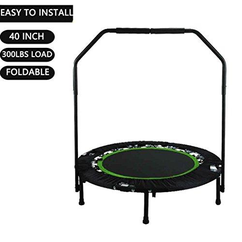 Buano Fitness-Trampolin leise Gummiseilfederung Haltegriff Randabdeckung, Nutzergewicht bis 100kg, Trampolin für Jumping (Grün1)