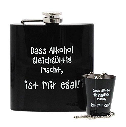 Flachmann Set 'Motiv:Dass Alkohol gleichgültig macht, ist mir doch egal!'