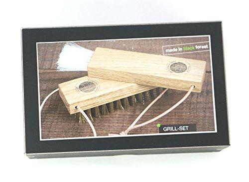 411T1h fDpL - Grillset - schönes Grillzubehör besteht aus Marinadepinsel mit lebensmittelechten Naturborsten und Grillreinigungsbürste mit Messingbestückung aus Eichenholz, Made in Germany