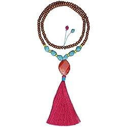 eManco Statement Collares Colgante Largo De Borla Turquoise Beads Decoraciones Joyería Para Mujer (Rojo)
