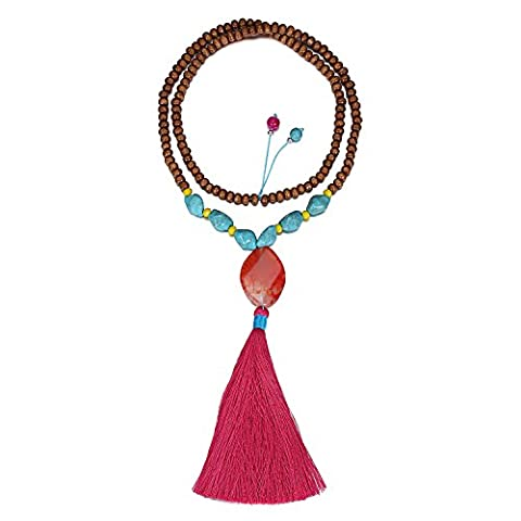 eManco Hippie Long Brown Wood Bead Red Stone Tassel Pendant Necklace Mala for Women Fashion Jewellery