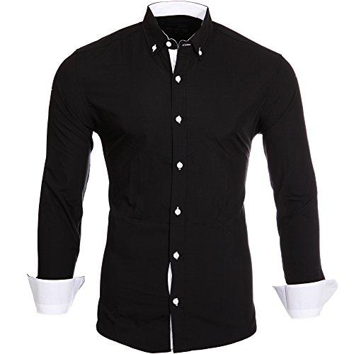 Reslad Herren-Hemd Kontrast Look Button-Down-Kragen Langarm-Hemd RS-7055 Schwarz-Weiß