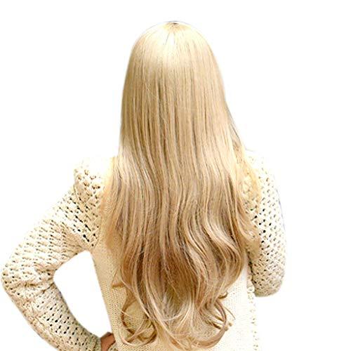 HCFKJ Perücke, 2019 Frauen lockiges Gold synthetische Naturhaarperücke Lange Welle volle Perücken Party Haar Perücken (GD)