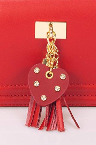 Laura Moretti - Sac à main en cuir avec pom pom pompon (CLUTCH style) Rouge