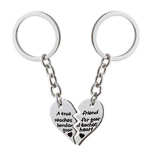 2pcs BBF Bester Freund Split Schlüsselanhänger Ringe - Ein echter Freund greift nach deiner Hand und berührt dein Herz