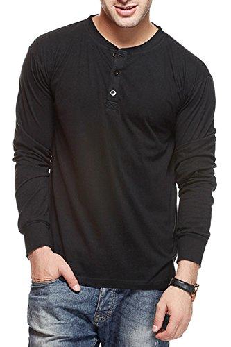 Gritstones Men's Button Front T-Shirt (GSFSHNLYBLK.1_Black_Medium)