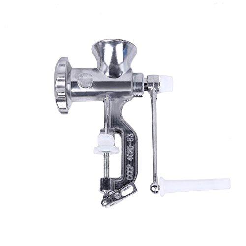 PREUP Fleischwolf Zerkleinerer Aluminium manuell Hackfleisch Zerkleinerer mit Handkurbel Gebäckvorsatz Größe 5
