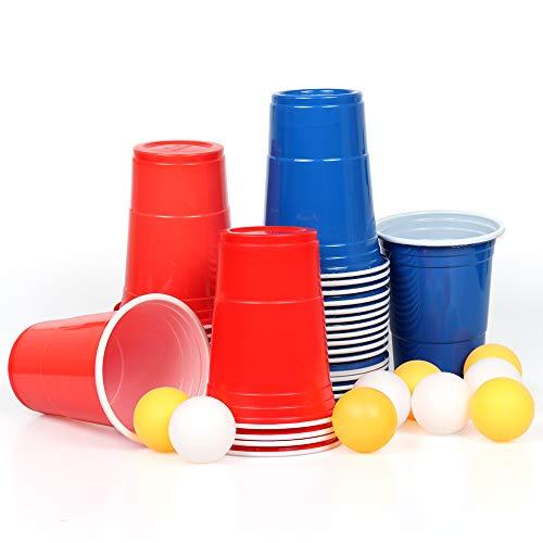 100x Beer Pong Becher Partybecher Set Plastikbecher Rot und Blau 473ml Bier Pong Cups mit Bällen, 16oZ für Getränke Party Camping Cocktail Bier Neues Jahr Weihnachten Geburtstag Festivals Hochzeit -