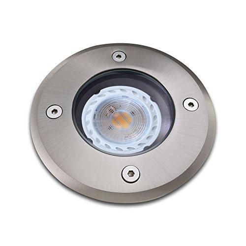 Bodeneinbaustrahler inkl LED 3W warmweiß Einbaustrahler Spot Bodenspot Einbauleuchte GU10-Fassung RUND