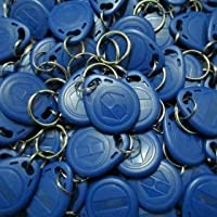 (100pacs)125Khz RFID Proximity ID Card Token Tags Key Keyfobs for Access Control Time Attendance(Blue)