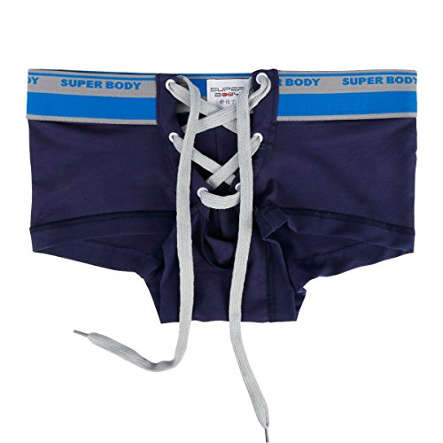 YiZYiF Herren Boxershorts Baumwolle Unterwäsche Unterhosen Hipster reizvolle Männer Badehosen M-XL Marineblau