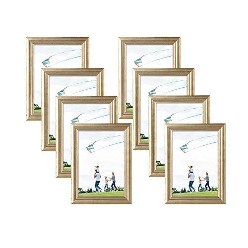 eSituro SPF0063-8 Bilderrahmen 8 Stück Fotorahmen Dekorahmen zum Aufhängen oder Aufstellen aus Massivholz Glasschiebe 10x15 bis 30x40cm Gold