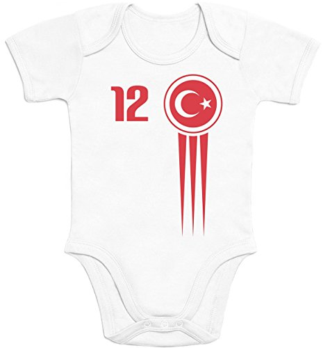 Türkei Türkiye Baby Trikot EM 2020 Fanshirt Babies Baby Kurzarm Body Newborn Weiß