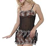 MERICAL Mode Sexy Bogen Uniformen Versuchung Damen unterwäsche Nachthemd(M,Schwarz)