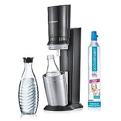 SodaStream Crystal 2.0 Wassersprudler inkl. 1 Zylinder und 2 Glaskaraffen 0, 6l Farbe: Titan Trinkwassersprudler, Gebürsteter Stahl, Silber, 55 x 26 x 16 cm