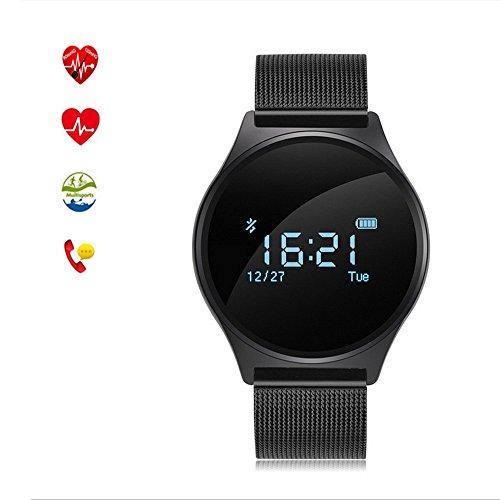 Smartwatch Bluetooth Orologio Polso Ultrasottile Tondo Fitness Sport Uomo,Distanza,Cardio Frequenzimetro, Calorie,Monitor Sonno ecc, Braccialetto Smart Attività Tracker, M7 (Nero acciaio)