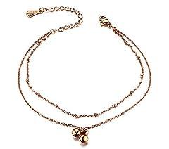 Idea Regalo - Vnox Acciaio inossidabile da donna in acciaio inox a doppio strato Cavigliera in lega di fascino regolabile per estate,oro rosa
