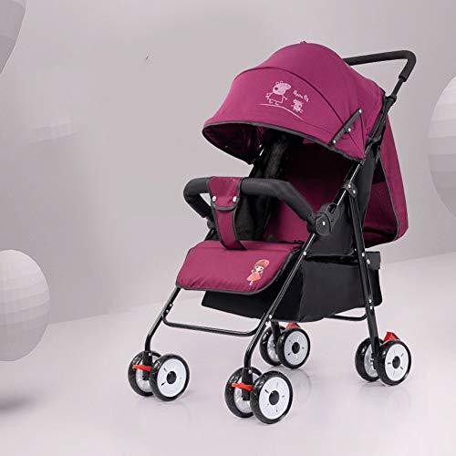 Kinderwagen Kann Sitzen Liegend Baby Regenschirm Licht Falten Stoßdämpfer Verbreiterung Voller Markise Schock Lila