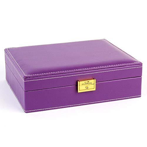 Littlefairy doppia pelle scatola anello collana gioielli storage scatola 25.5 * 20,5 * 7.5 cm