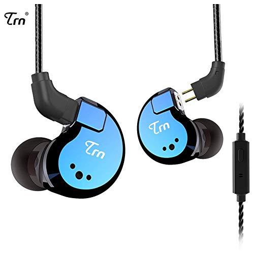 TRN V80 In-Ear-Stereo-Ohrhörer mit Mic-Metall-Ohrhörer, Yinyoo Vier Treiber 2DD + 2BA Hybrid HIFI In Ear-Monitor mit abnehmbaren 2-Pin-Kabel (blau mit Mic)