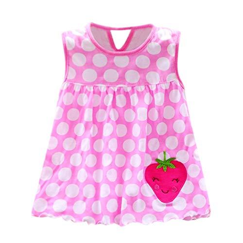 Bibao Baby Mädchen Kleider für 0-24 Monate, Kleinkinder, süßes Baby Baumwolle Blumen Obst Schmetterling Druck Kinder T-Shirt Weste Kleid, Rose, (0-24M) UK Rose Druck Weste