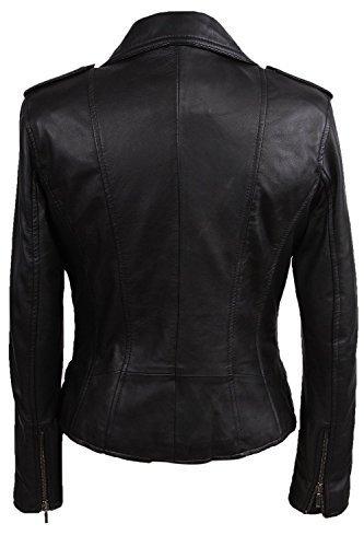 Damen Frauen 100% Echtes Leder Bikerjacke Schwarz Ausgestattet Bikers Stil Vintage Rock (X-Small, Schwarz) - 4