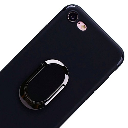 SmartLegend iPhone 7 Silicone Case with Ring Holder Kickstand, iPhone 7 Soft Back Cover Pink, 2 in 1 Flexible Lightweight Anti-Scratch Solid Color Protection Slim Fit Gel Rubber Bumper Protective Case Black