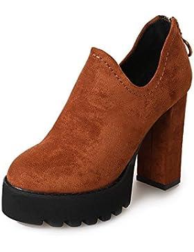 KPHY-La versión coreana de la gruesa con High-Heeled botas botas desnudo y el otoño y el invierno la nueva cabeza...